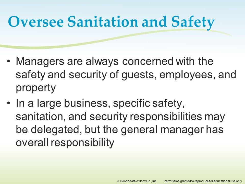 Oversee Sanitation and Safety