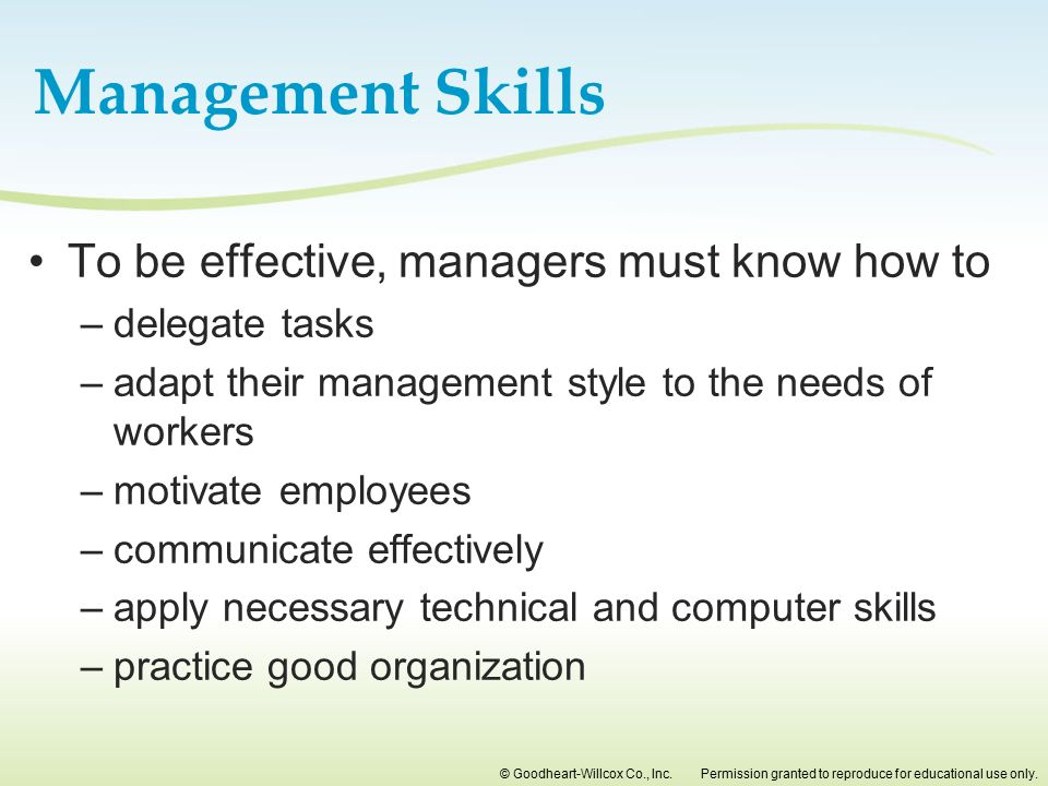 Management Skills To be effective, managers must know how to