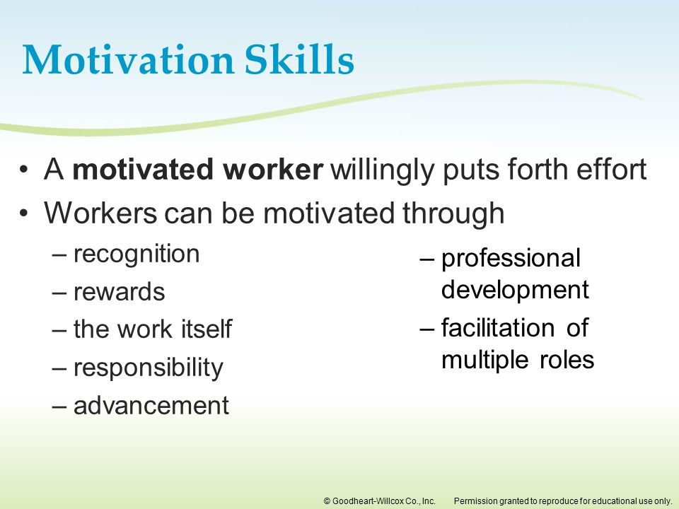 Motivation Skills A motivated worker willingly puts forth effort
