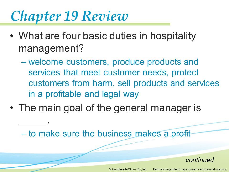 Chapter 19 Review What are four basic duties in hospitality management