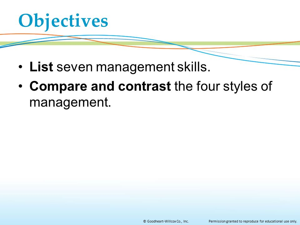 Objectives List seven management skills.