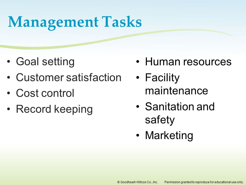 Management Tasks Goal setting Customer satisfaction Cost control