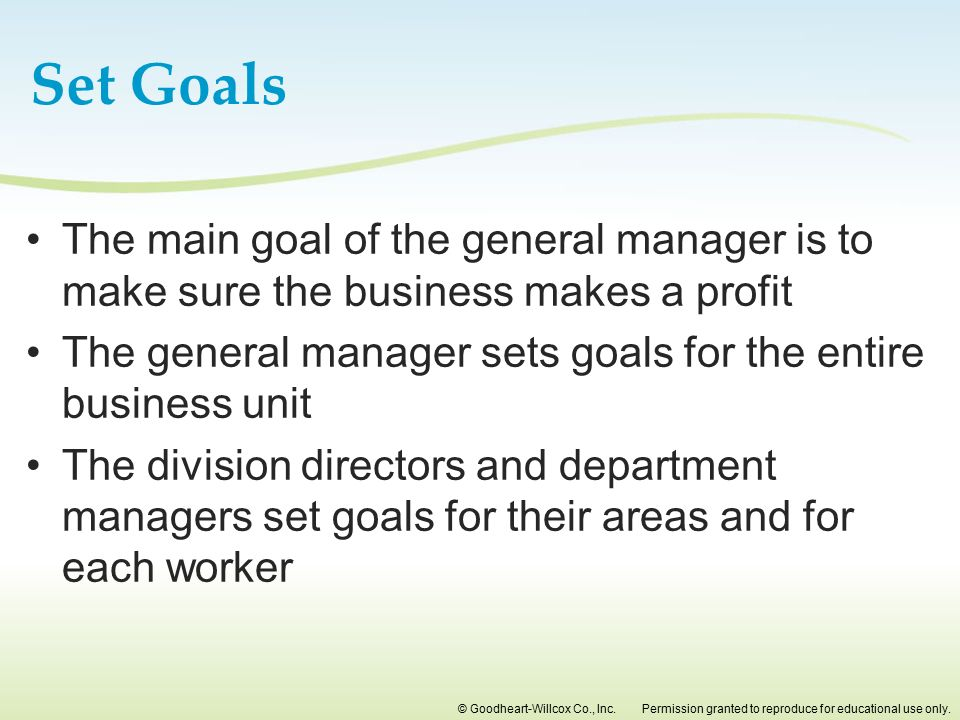 Set Goals The main goal of the general manager is to make sure the business makes a profit.