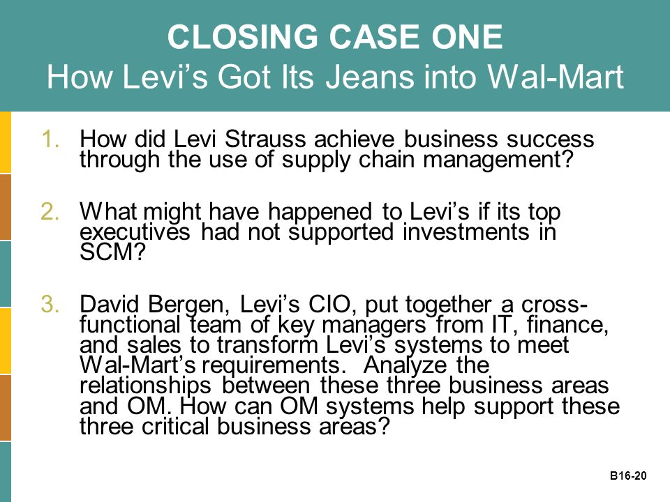 CLOSING CASE ONE How Levi's Got Its Jeans into Wal-Mart