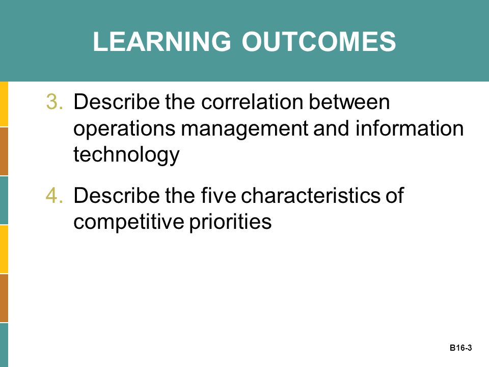 LEARNING OUTCOMES Describe the correlation between operations management and information technology.