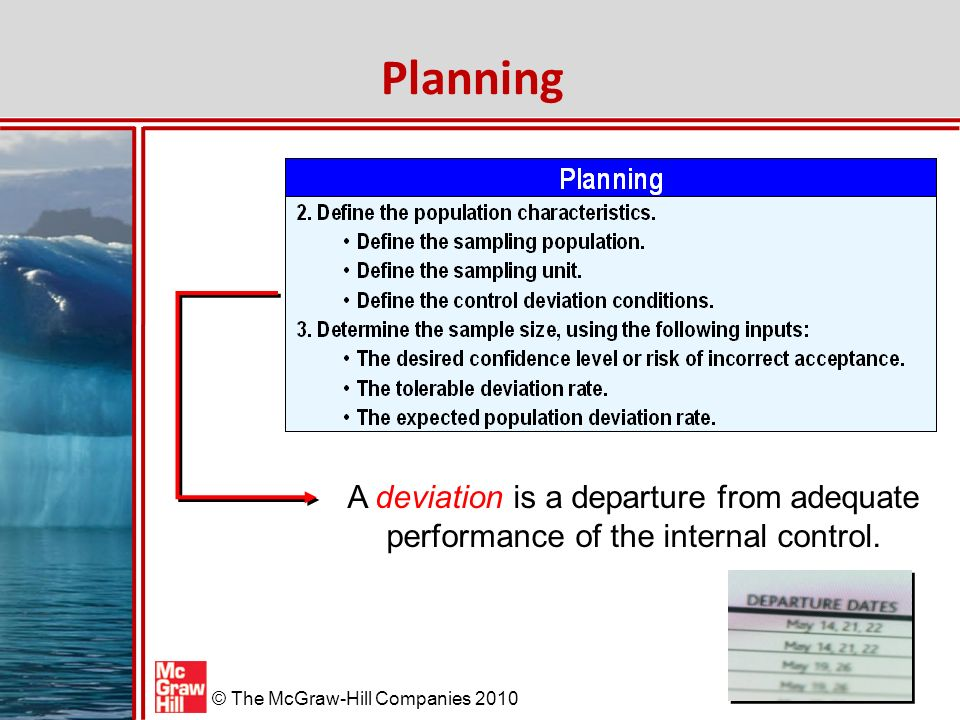 Planning A deviation is a departure from adequate performance of the internal control.