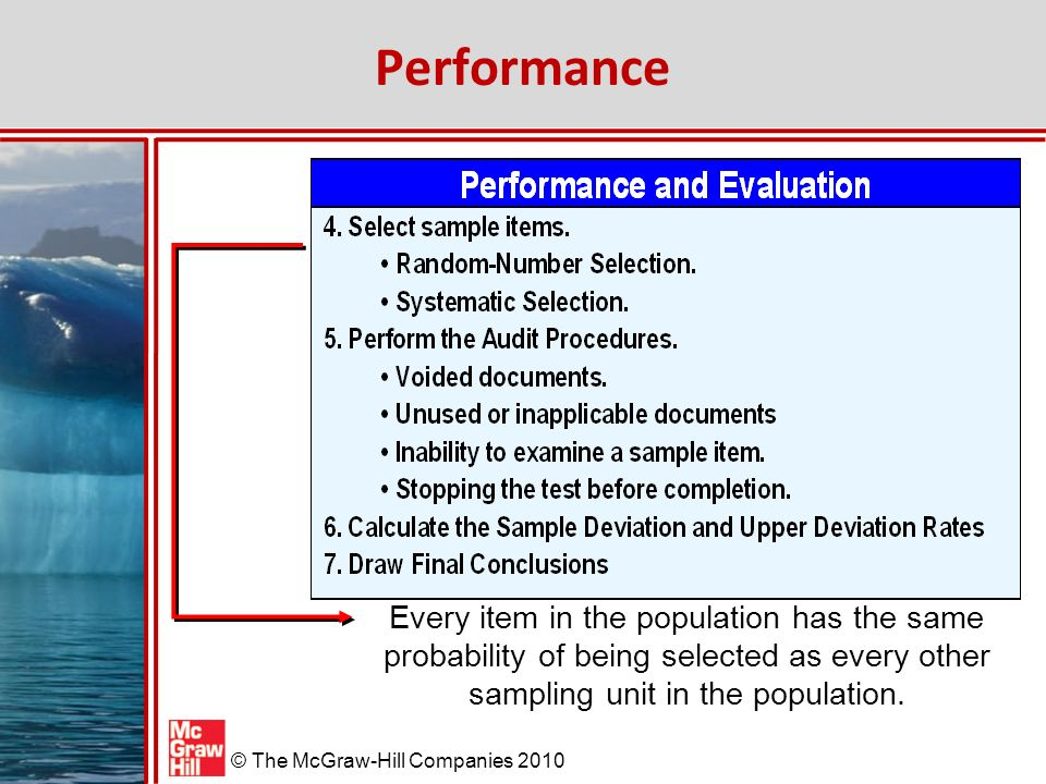 Performance Every item in the population has the same probability of being selected as every other sampling unit in the population.