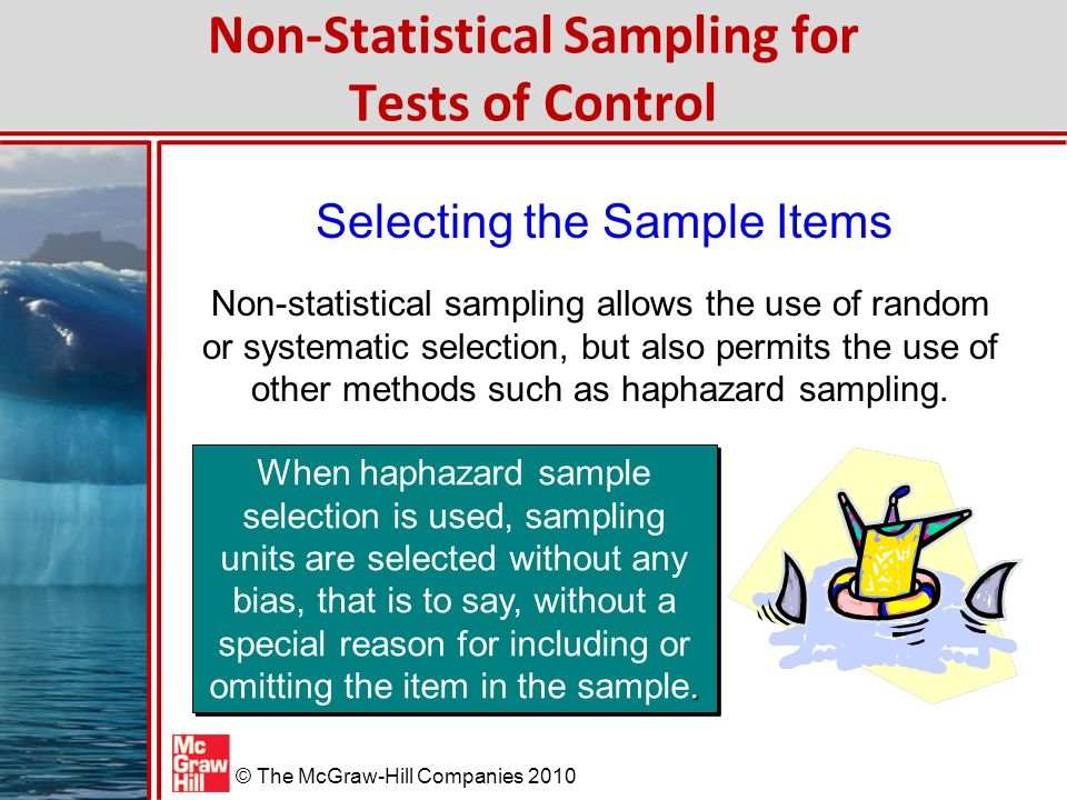 Non-Statistical Sampling for Tests of Control