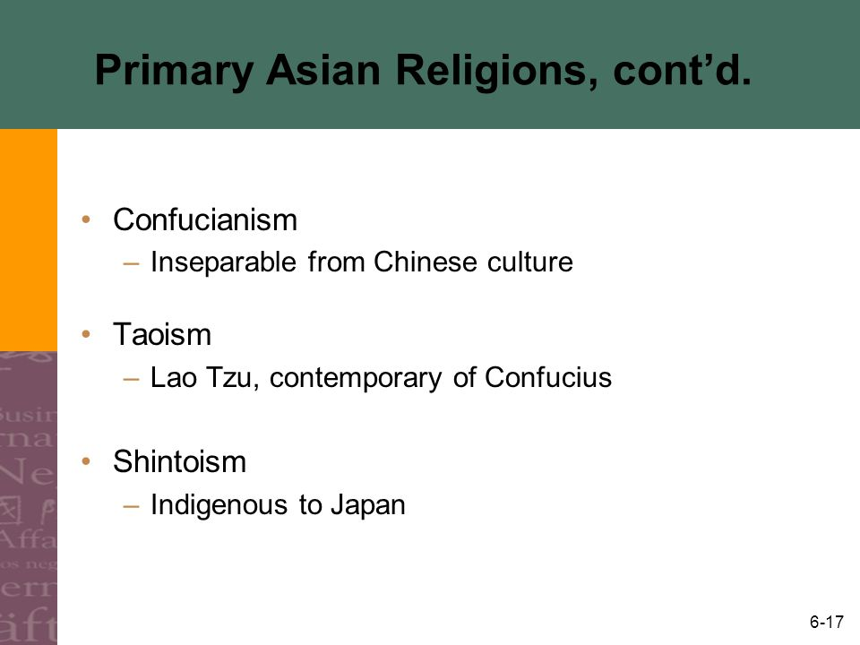 Primary Asian Religions, cont'd.