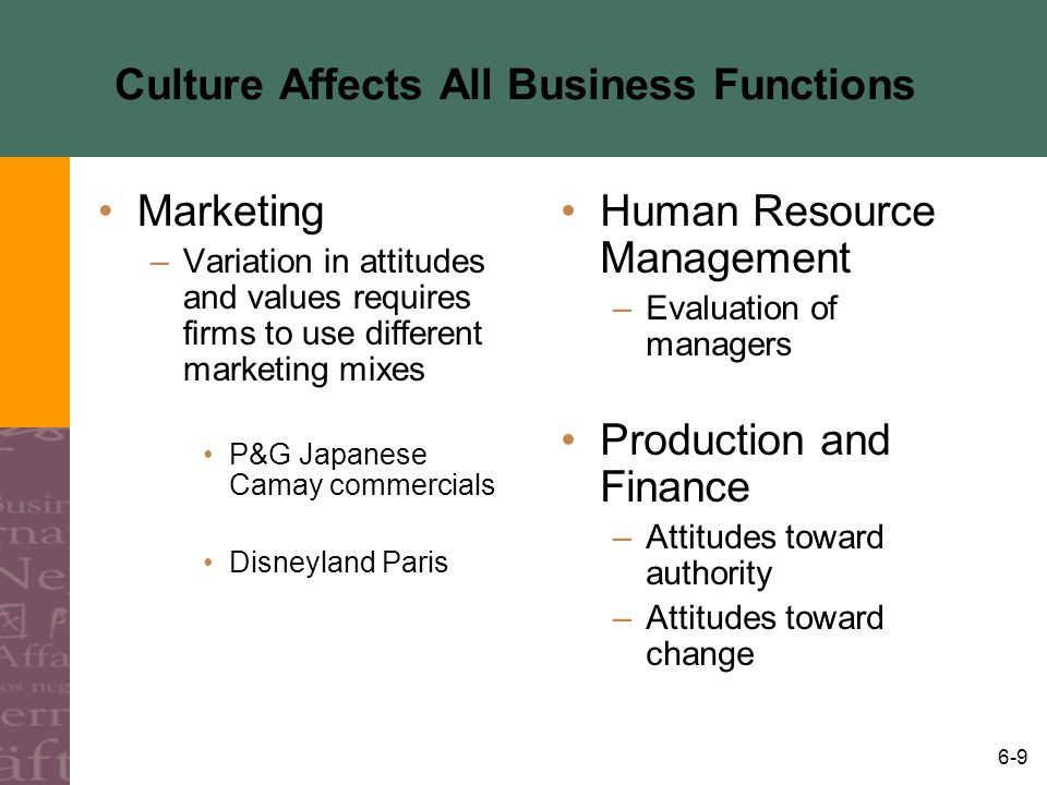 Culture Affects All Business Functions