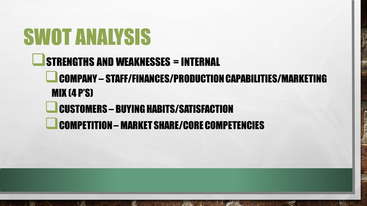 SWOT Analysis Strengths and Weaknesses = Internal
