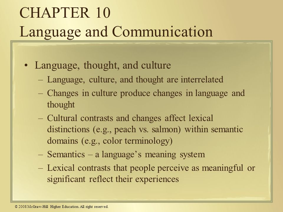 CHAPTER 10 Language and Communication