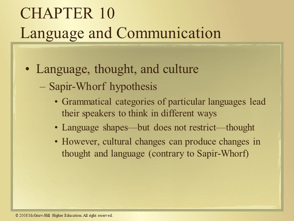 CHAPTER 10 Language and Communication