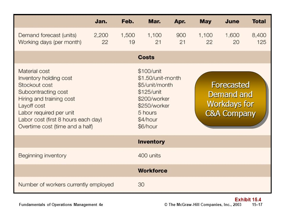 Forecasted Demand and Workdays for C&A Company