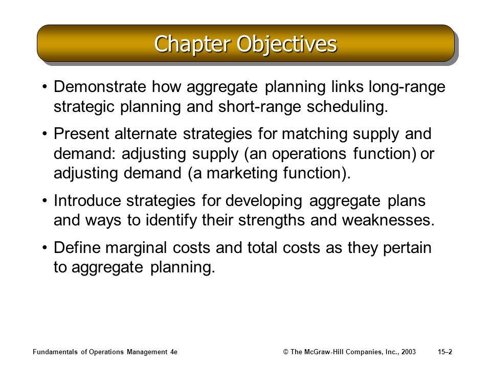 Chapter Objectives Demonstrate how aggregate planning links long-range strategic planning and short-range scheduling.