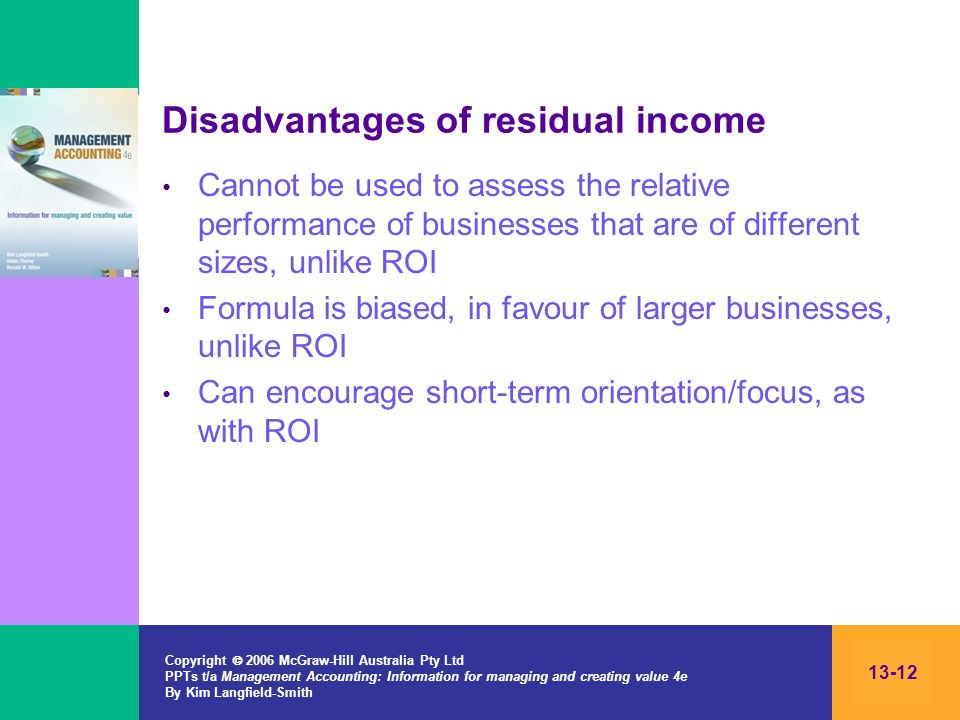 Disadvantages of residual income