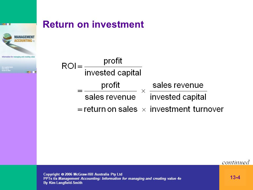 Return on investment Copyright  2006 McGraw-Hill Australia Pty Ltd PPTs t/a Management Accounting: Information for managing and creating value 4e.