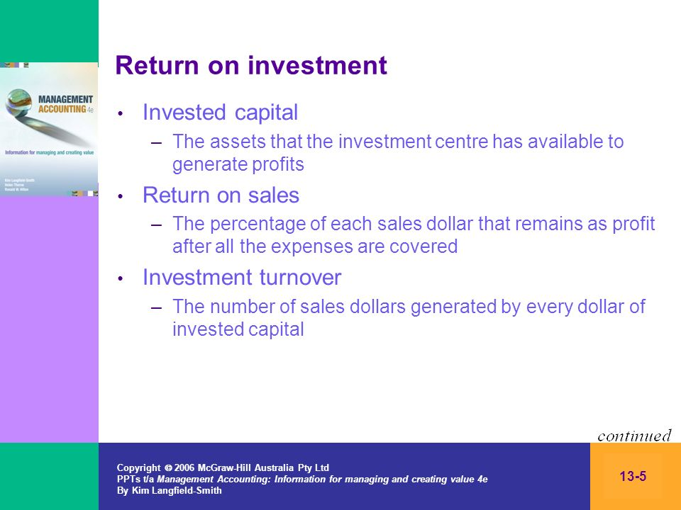 Return on investment Invested capital Return on sales