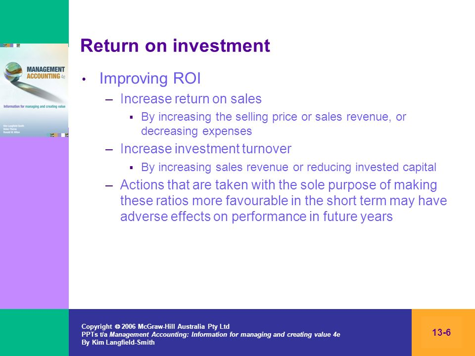 Return on investment Improving ROI Increase return on sales