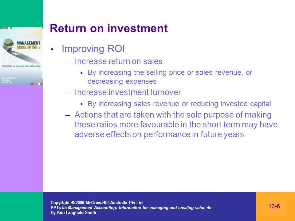 Return on investment Improving ROI Increase return on sales