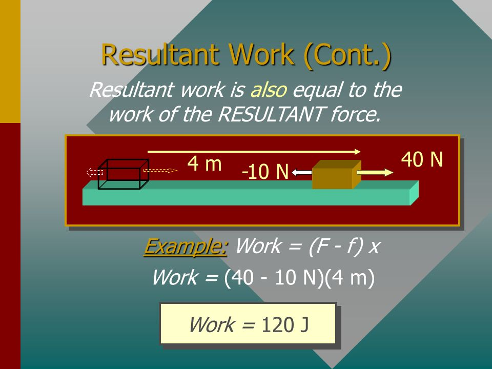 Resultant work is also equal to the work of the RESULTANT force.