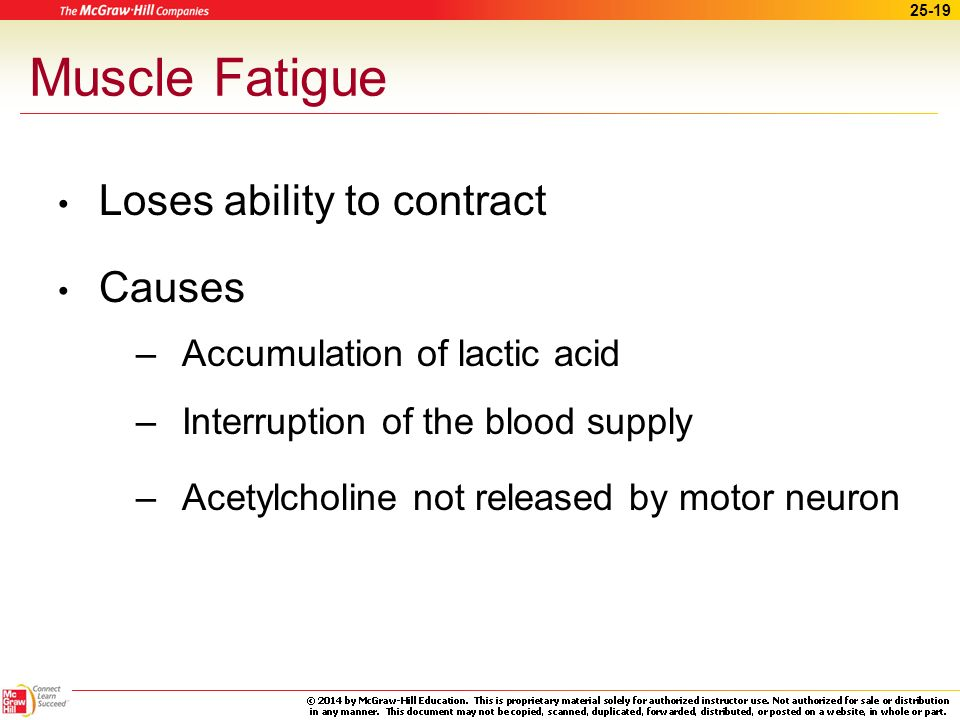 Muscle Fatigue Loses ability to contract Causes