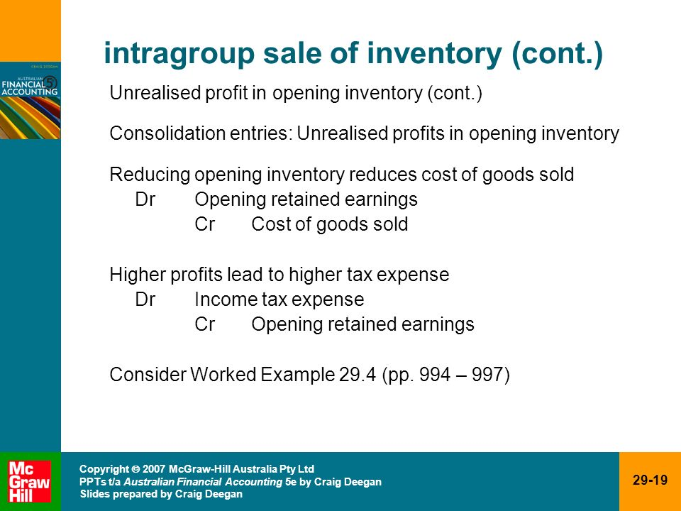 intragroup sale of inventory (cont.)