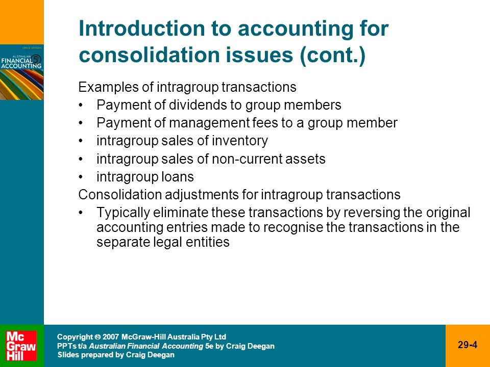 Introduction to accounting for consolidation issues (cont.)