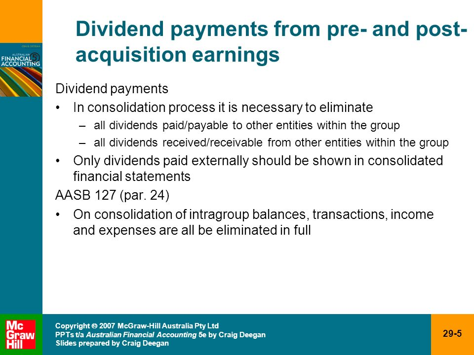 Dividend payments from pre- and post-acquisition earnings