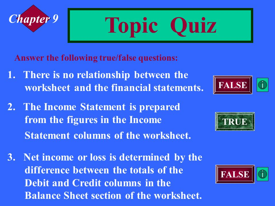Chapter 9 Topic Quiz. Answer the following true/false questions: 1. There is no relationship between the worksheet and the financial statements.