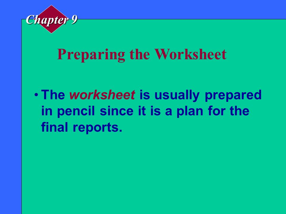 Preparing the Worksheet