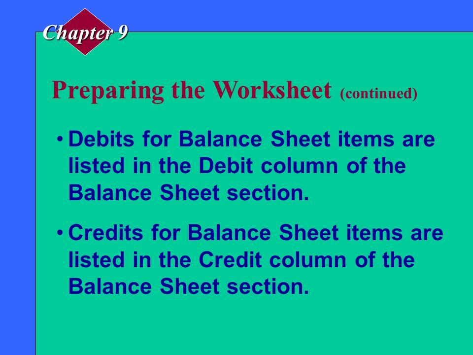 Preparing the Worksheet (continued)