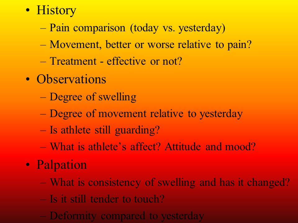 History Observations Palpation Pain comparison (today vs. yesterday)