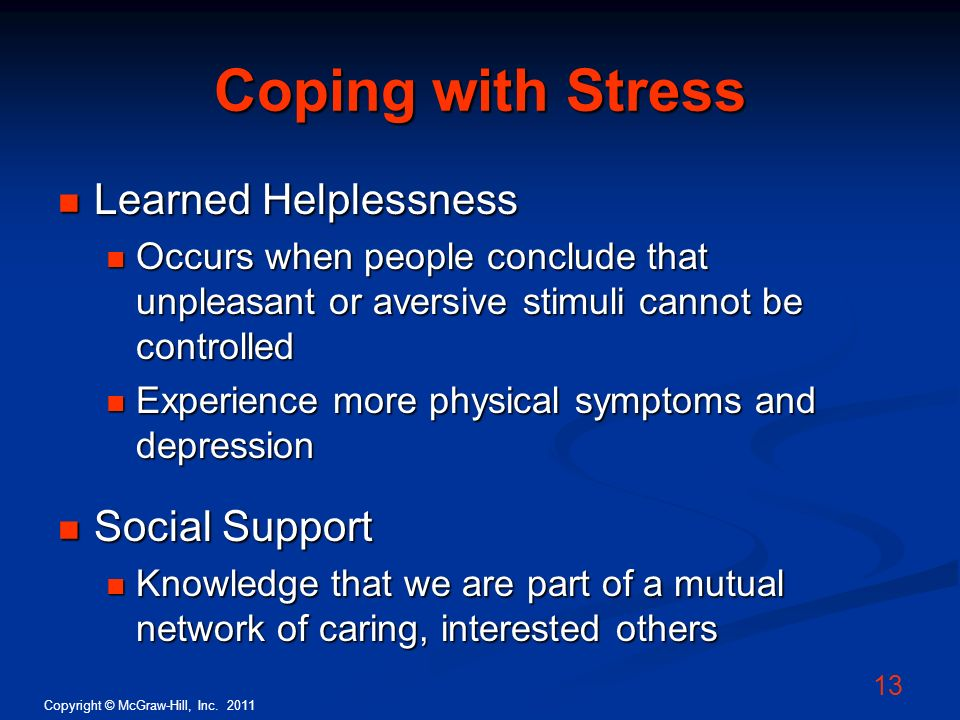 Coping with Stress Learned Helplessness Social Support