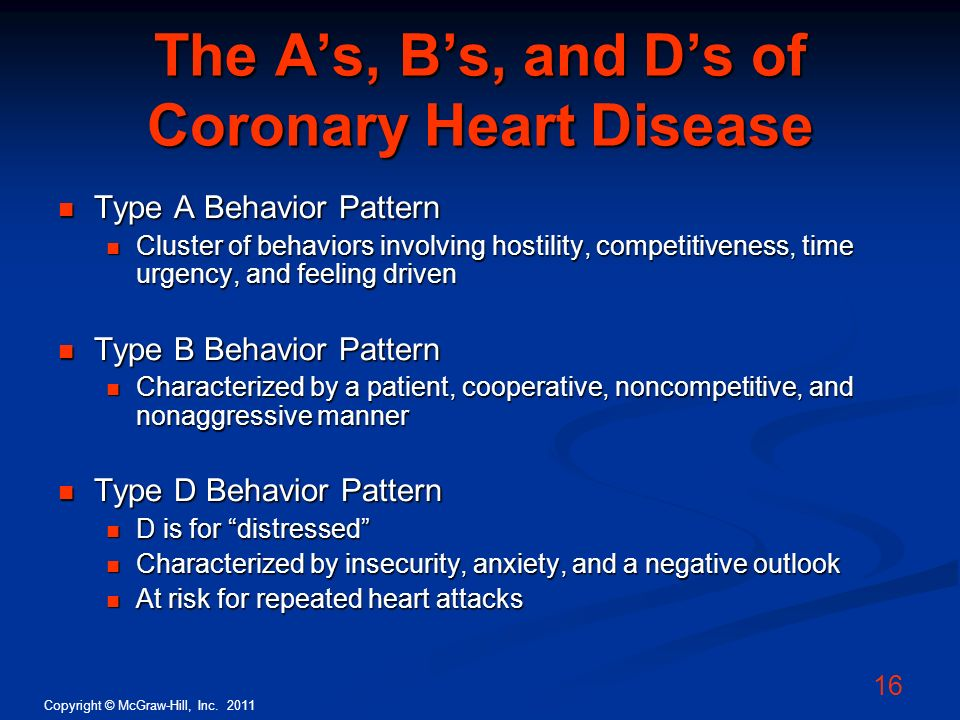 The A's, B's, and D's of Coronary Heart Disease