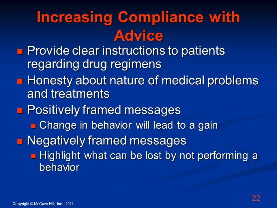 Increasing Compliance with Advice