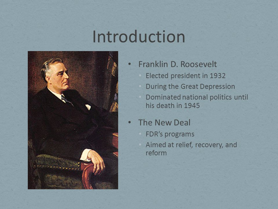 an introduction to the history of franklin delano roosevelt and his new deal Franklin delano roosevelt and his leadership on a rainy day in march 1933, a country watched eagerly as franklin delano roosevelt swore in as the thirty-second president of the united states at this time, the united states was hurting badly from a depression, soon called the great depression, and yearning out for a new leader who would help them.