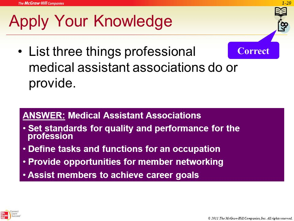 Apply Your Knowledge List three things professional medical assistant associations do or provide. Correct.