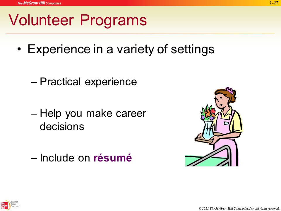 Volunteer Programs Experience in a variety of settings
