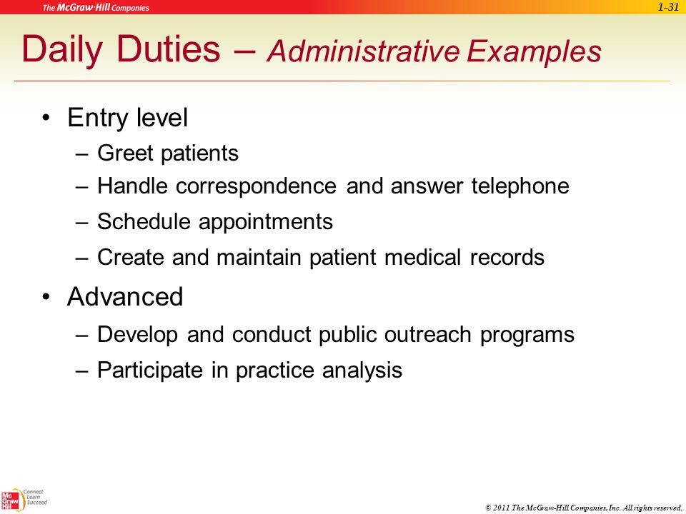 Daily Duties – Administrative Examples