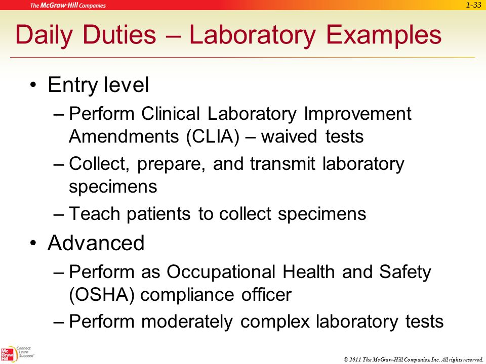 Daily Duties – Laboratory Examples