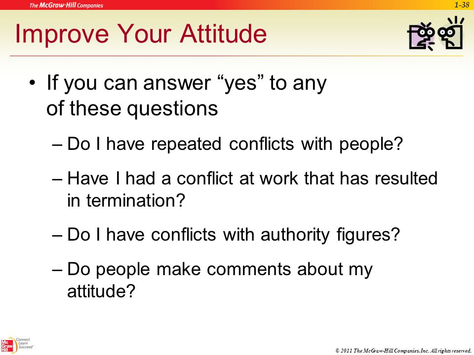 Improve Your Attitude If you can answer yes to any of these questions. Do I have repeated conflicts with people