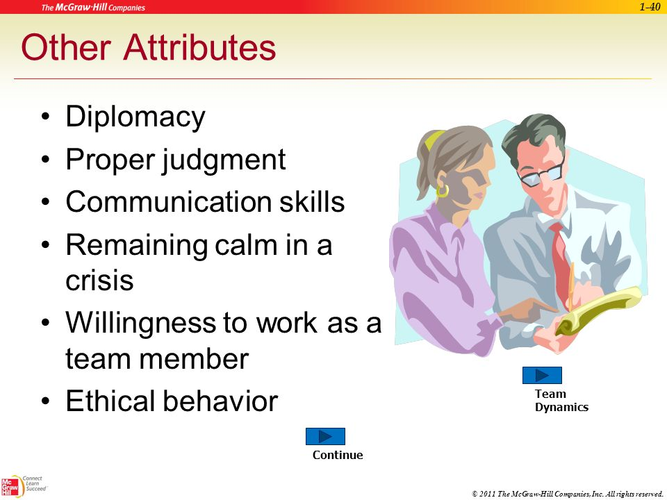 Other Attributes Diplomacy Proper judgment Communication skills