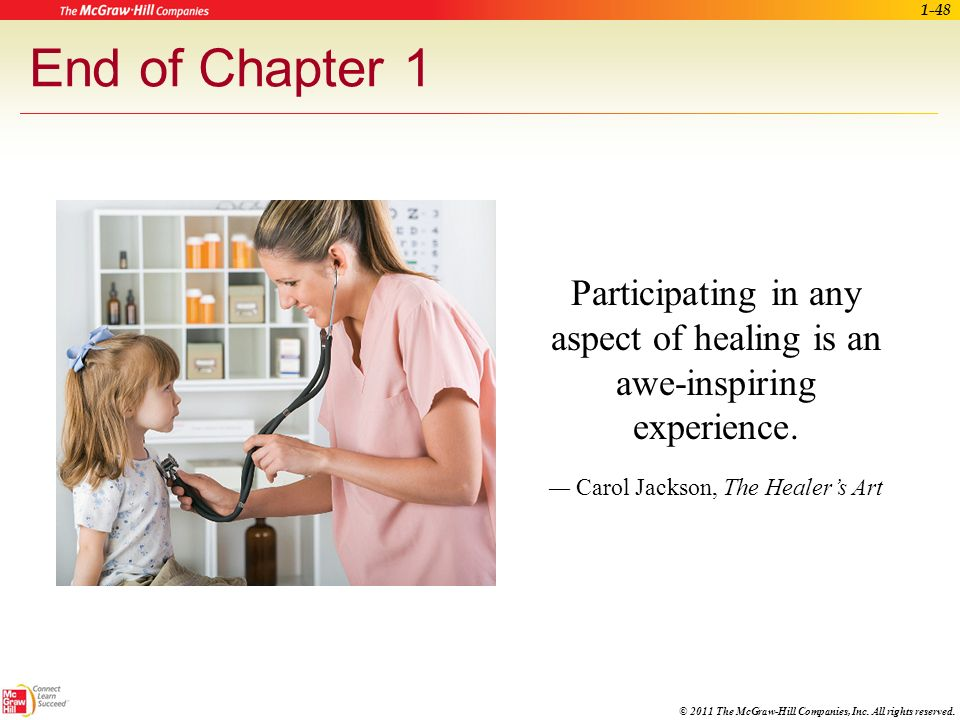 End of Chapter 1 Participating in any aspect of healing is an awe-inspiring experience.