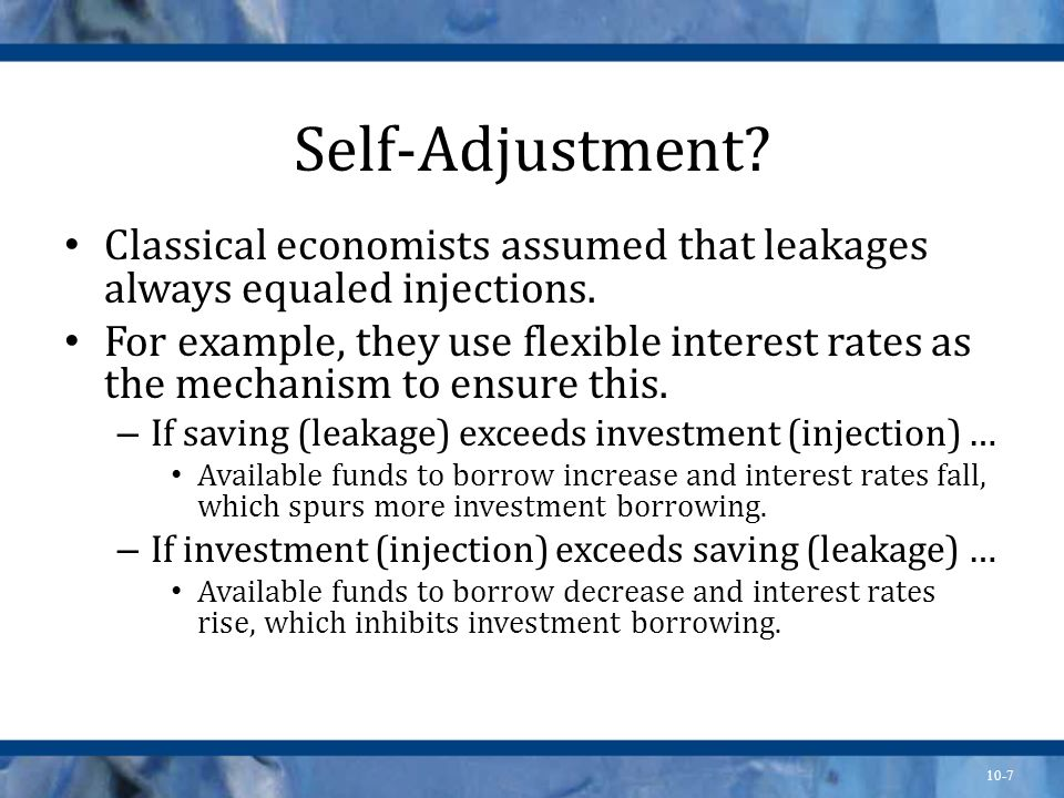 Self-Adjustment Classical economists assumed that leakages always equaled injections.