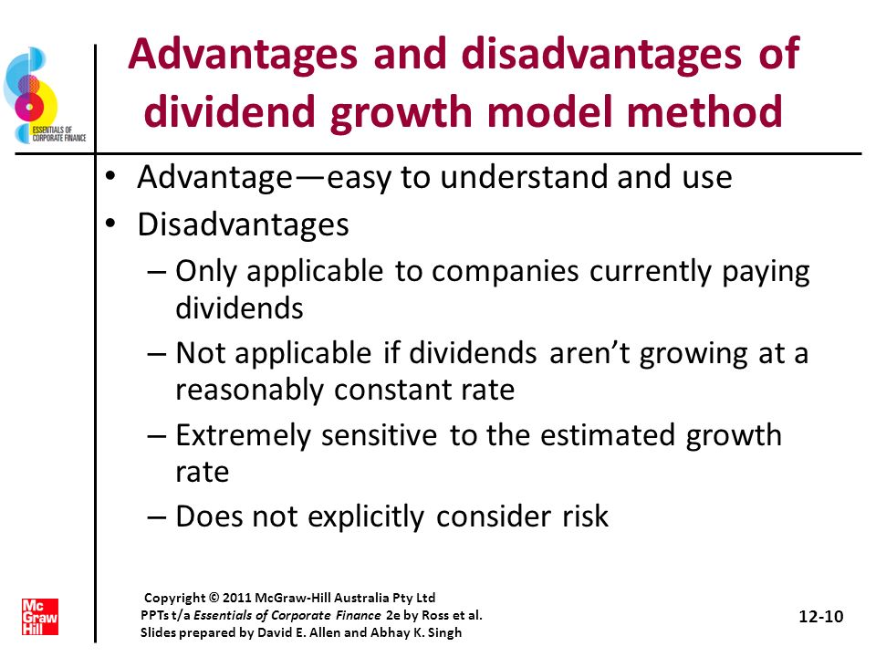 Advantages and disadvantages of dividend growth model method