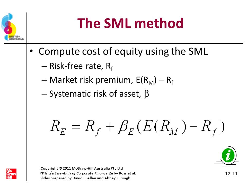 The SML method Compute cost of equity using the SML Risk-free rate, Rf