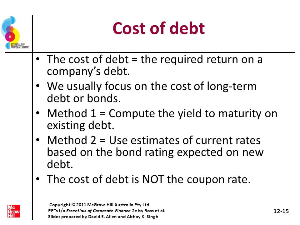 Cost of debt The cost of debt = the required return on a company's debt. We usually focus on the cost of long-term debt or bonds.