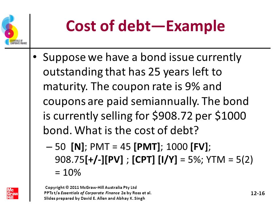 Cost of debt—Example