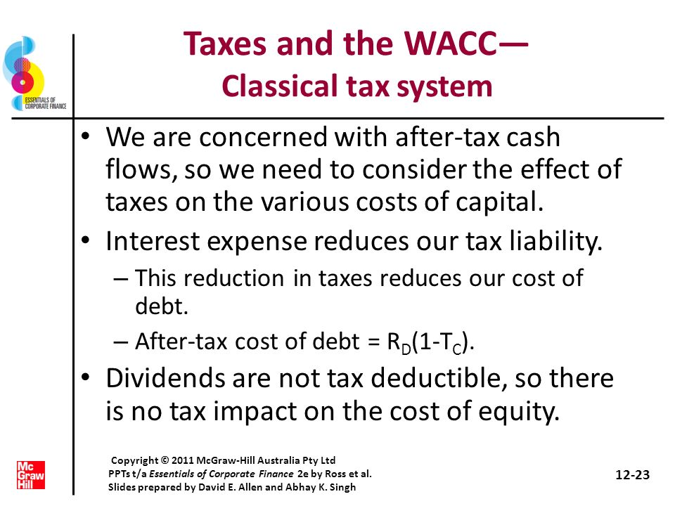 Taxes and the WACC— Classical tax system